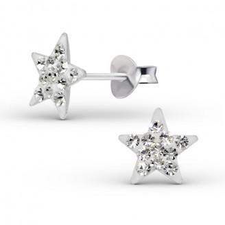 """Dětské stříbrné náušnice s krystaly """"Bílá hvězda"""". Ag 925/1000"""